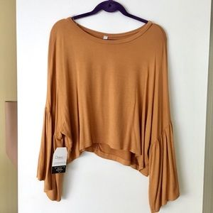 NWT Mustard bell sleeve crop top